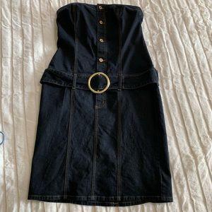 Baby Phat Dark Wash Strapless Denim Dress Size 15